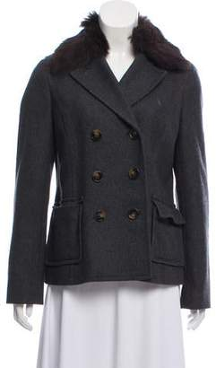 Tory Burch Fur-Trimmed Wool Jacket