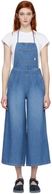 Blue Denim Wide-leg Overalls