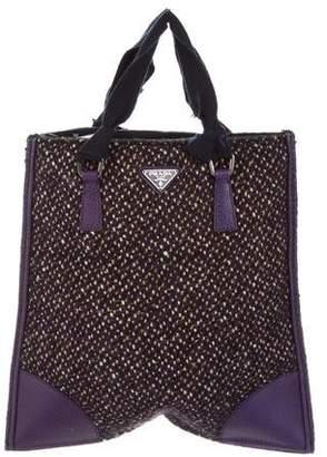 Prada Tweed Leather-Trimmed Handle Bag