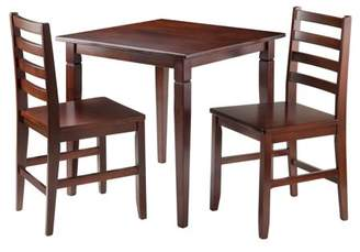 Winsome Kingsgate 3-Pc Dinning Table with 2 Hamilton Ladder Back Chairs