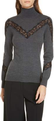 Milly Lace Inset Wool Turtleneck Sweater