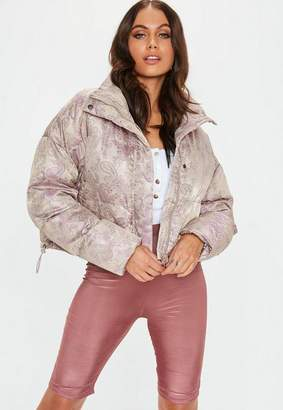 Missguided Pink Cropped Floral Jacquard Puffer Jacket