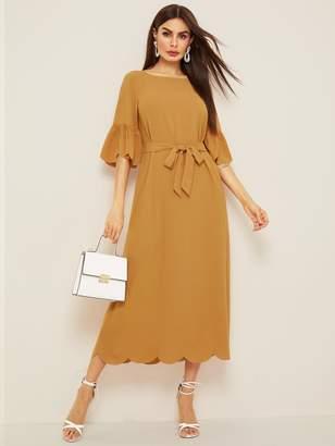 Shein Scallop Hem Belted Flounce Sleeve Longline Dress