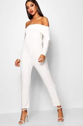 boohoo Bardot Angular Detail Skinny Leg Jumpsuit