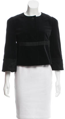 La Perla Lace-Trimmed Velvet Jacket $325 thestylecure.com
