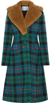 Prada Shearling-trimmed Tartan Wool And Alpaca-blend Coat - Green