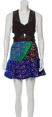 Self-Portrait Lace-Paneled Mini Dress