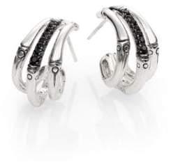 John Hardy Bamboo Black Sapphire& Sterling Silver Bamboo Lava Triple Hoop Earrings