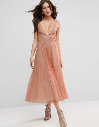 Asos Deep Plunge Cami Mesh Pleated Midi Dress