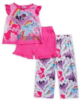 AME Sleepwear Little Girl's My Little Pony Three-Piece Top, Shorts and Pants Set