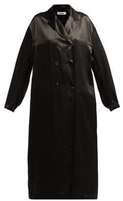Jil Sander Groove Double Breasted Satin Duster Coat - Womens - Black