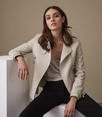 Reiss Sahara Oversized Leather Jacket