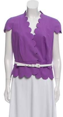 Christian Dior Scalloped Cap Sleeve Jacket Purple Scalloped Cap Sleeve Jacket