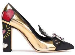 Dolce & Gabbana Embellished Printed Smooth And Metallic Leather Pumps
