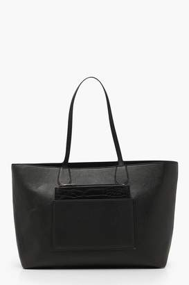 boohoo Structured Faux Croc Panel Tote