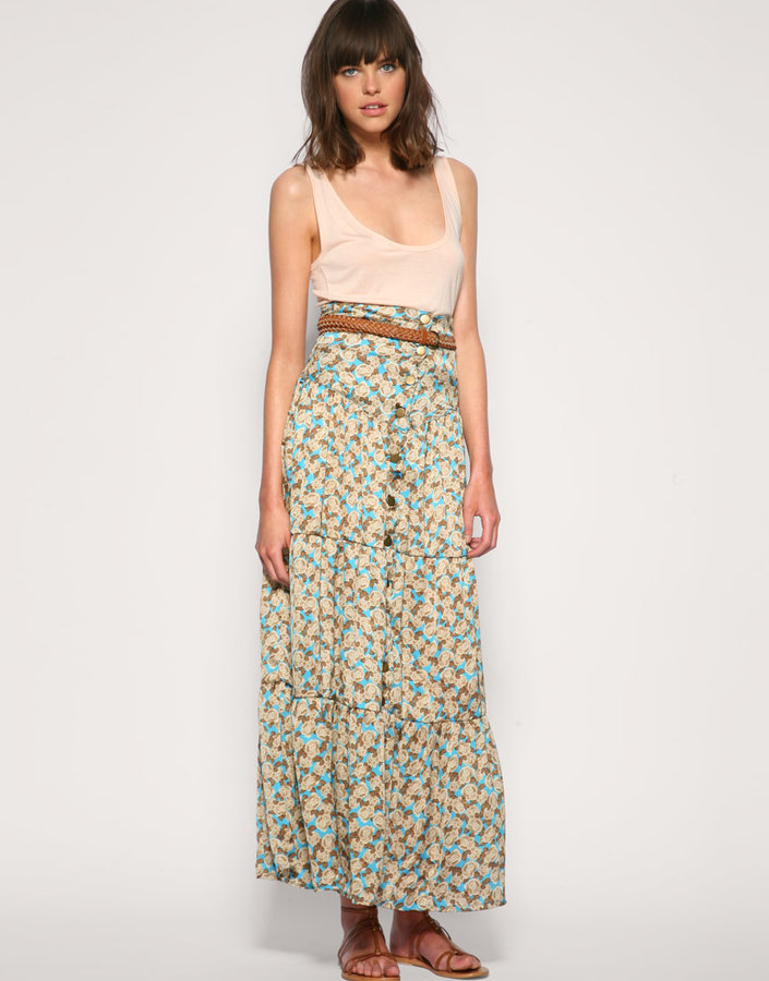 Fairgound Button Front Tiered Floral Maxi Skirt