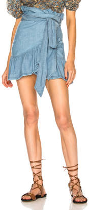 Etoile Isabel Marant Linday Chambray Ruffle Trim Mini Skirt
