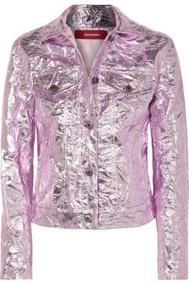 Sies Marjan - Alby Cropped Metallic Crinkled-jacquard Jacket - Pastel pink
