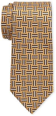 Isaac Mizrahi Gold Geo Silk Tie