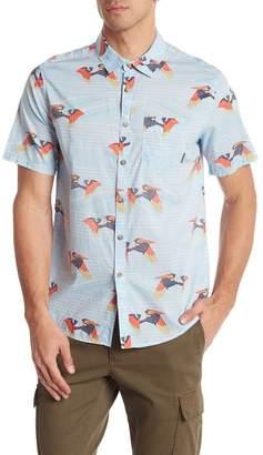 Billabong Stripe Floral Short Sleeve Button Shirt