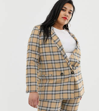 Asos DESIGN curve brown check suit blazer