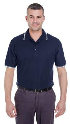 UltraClub Men's Short-Sleeve Whisper PiquePolo with Tipped Collar and Cuffs