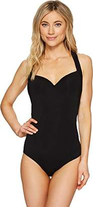 Jets Women's Parallels Banded One Piece Swimsuit
