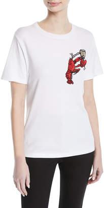 Oscar de la Renta Crewneck Short-Sleeve T-Shirt w/ Lobster Motif