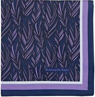 Ermenegildo Zegna Men's Feather-Print Silk Pocket Square