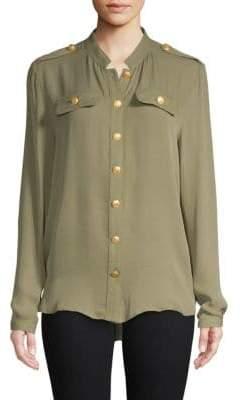 Pierre Balmain Long-Sleeve Silk Top