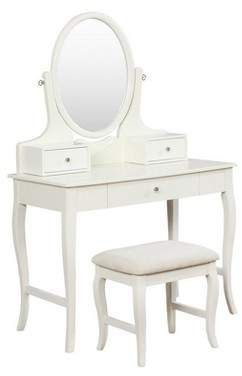 Linon April Ivory Vanity Set Ivory