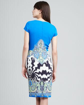 Etro Gathered-Front Cap-Sleeve Dress