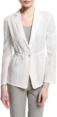 Armani Collezioni One-Button Cinch-Waist Burnout Jacket, White