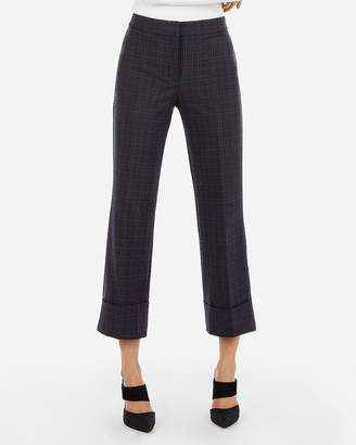 Express High Waisted Plaid Cuffed Cropped Pant