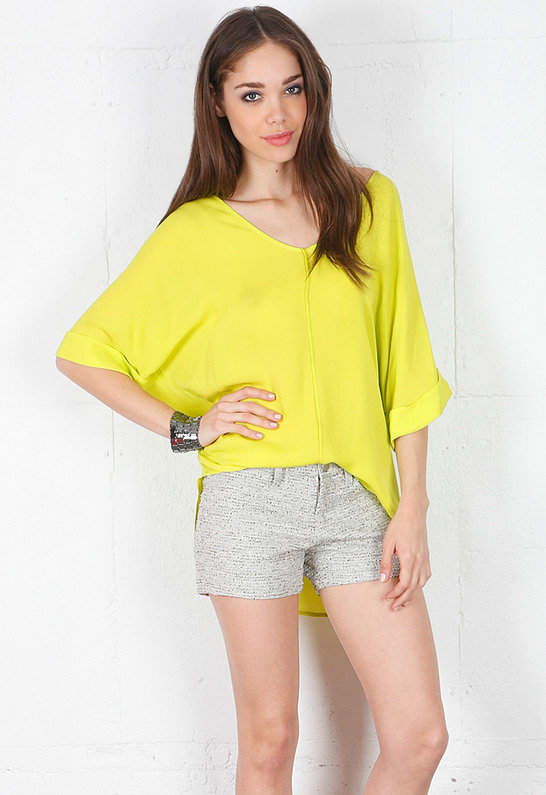 V Blouse in Neon Yellow - by Emerson Thorpe