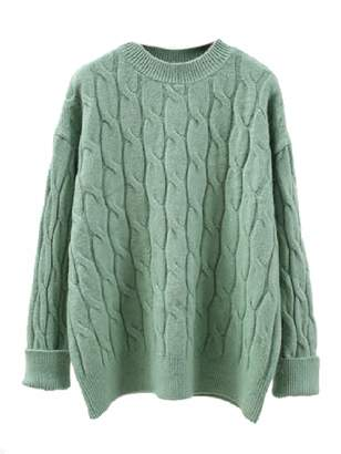 Goodnight Macaroon 'Edie' Cable Knit Crewneck Sweater (4 Colors)