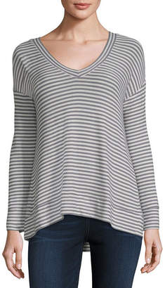 A.N.A Long Sleeve V Neck Pattern T-Shirt-Womens