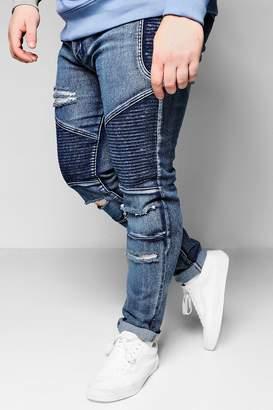 boohoo Big And Tall Blue Skinny Fit Ripped Biker Jeans