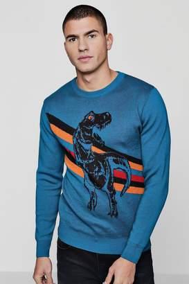 boohoo Dinosaur Intarsia Knitted Jumper