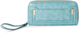 Tahari Light Blue Soft Shine Zip-Around Wallet