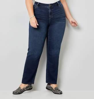 Avenue Plus Size 5 Pocket Straight Leg Knit Denim In Dark Wash