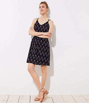 LOFT Tall Zig Zag Strappy Cami Dress