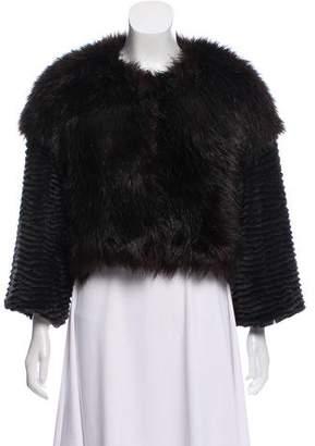 Halston Collarless Faux Fur Coat