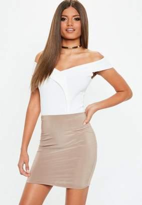 Missguided White Crepe Wrap Over Bardot Bodysuit