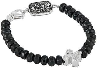 King Baby Studio - Faceted Onyx Bracelet w/ Pave Cross Bracelet $280 thestylecure.com