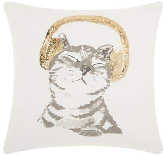 Mina Victory Sequin DJ Kitten Accent Pillow