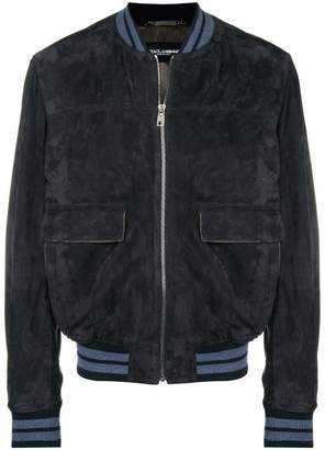 Dolce & Gabbana suede ribbed trim jacket
