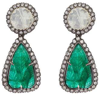 Aishwarya Diamond emerald gold alloy drop earrings