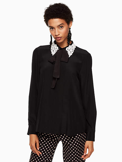 Lace collar silk shirt