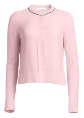 Fabiana Filippi Women's Metallic Trim Cashmere Cardigan - Bright Pink - Size 46 (10)
